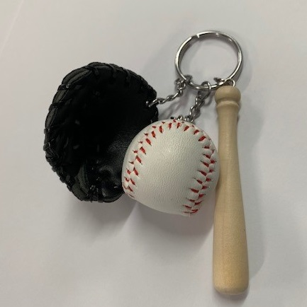 Combo Keyring Black Ball Glove And Bat Leading Edge Sport
